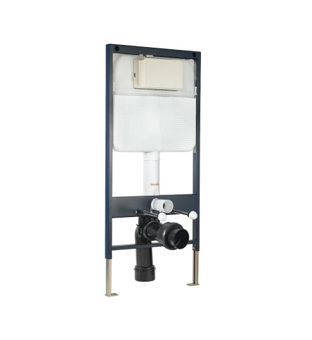 Pneumatic Single Piece Slim Concealed Cistern with Floor Mounting Frame